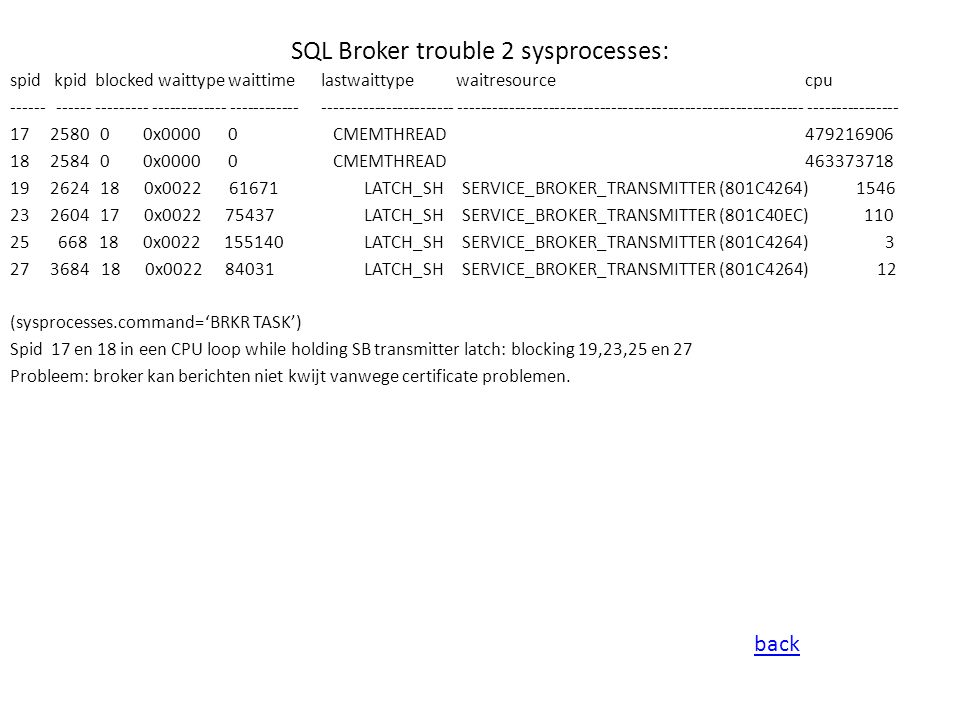 SQL Broker trouble 2 sysprocesses: