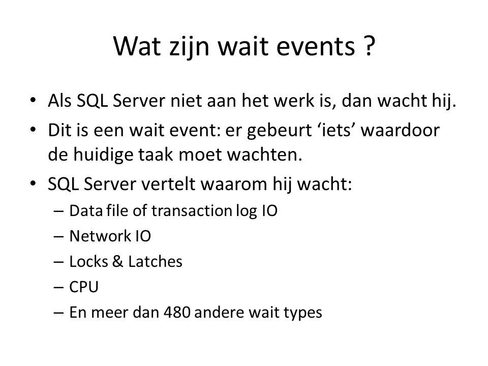 Wat zijn wait events Als SQL Server niet aan het werk is, dan wacht hij.
