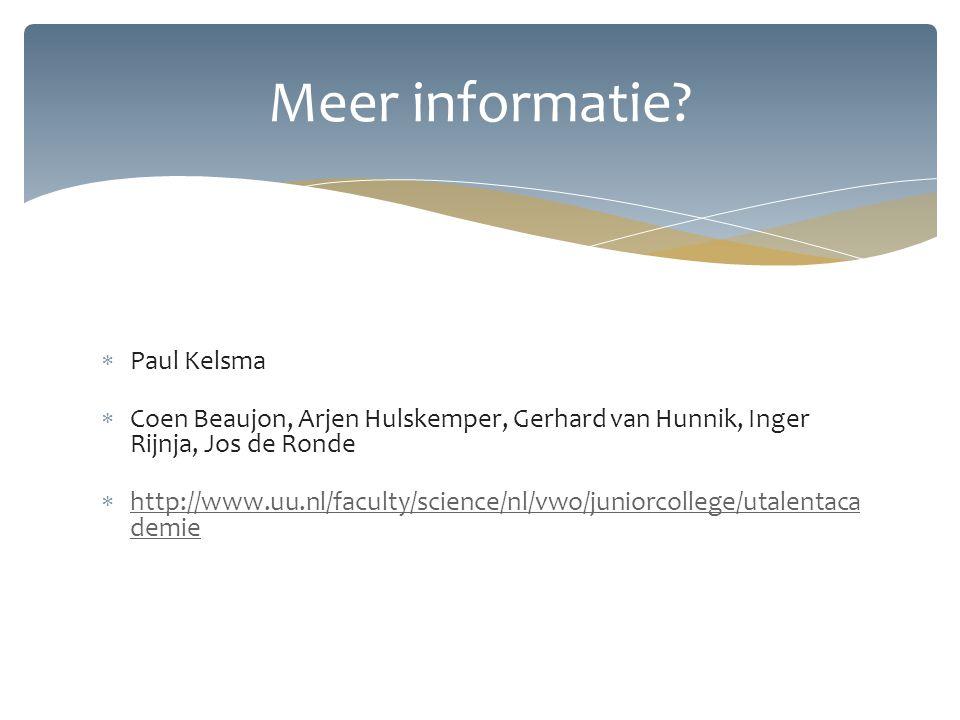 Meer informatie Paul Kelsma