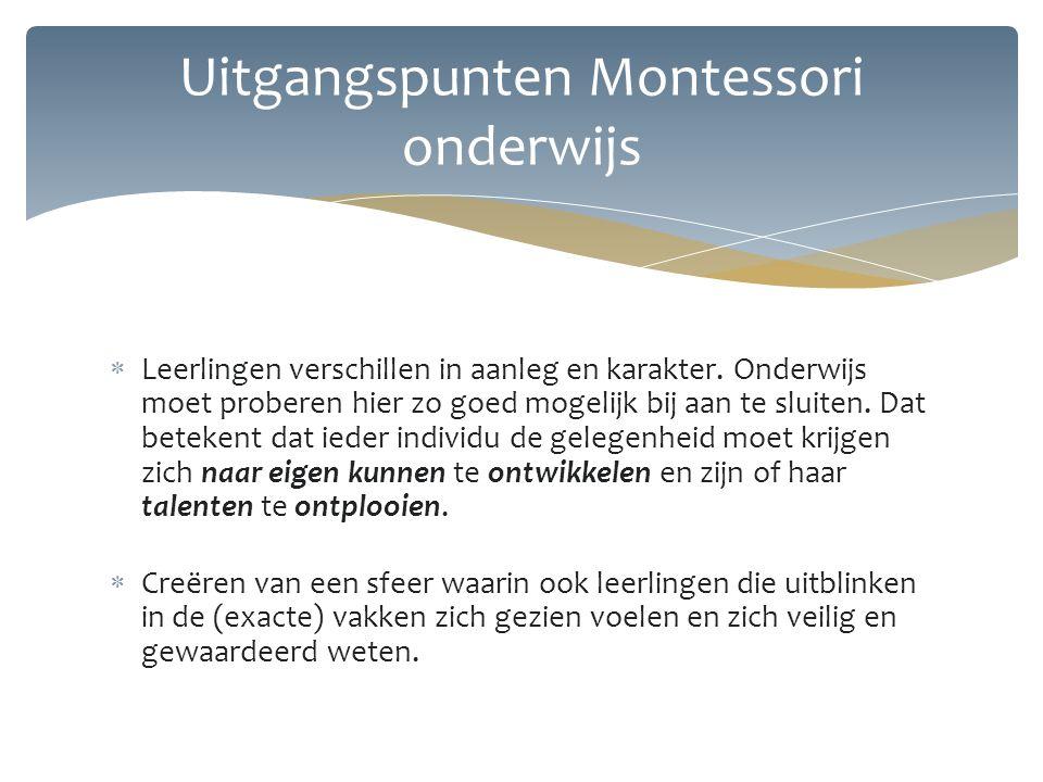 Uitgangspunten Montessori onderwijs