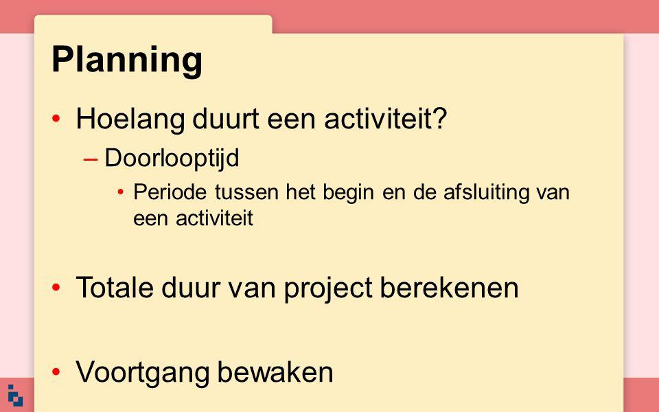 Planning Hoelang duurt een activiteit