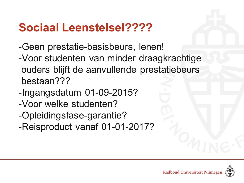 Sociaal Leenstelsel -Geen prestatie-basisbeurs, lenen!