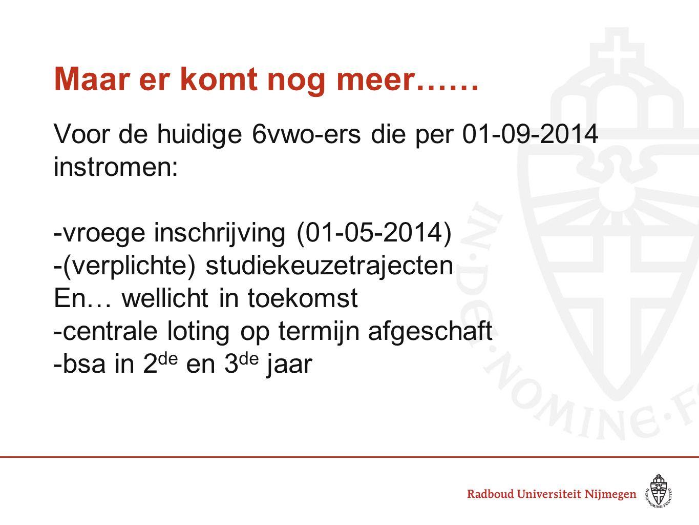 Maar er komt nog meer…… Voor de huidige 6vwo-ers die per 01-09-2014 instromen: -vroege inschrijving (01-05-2014)