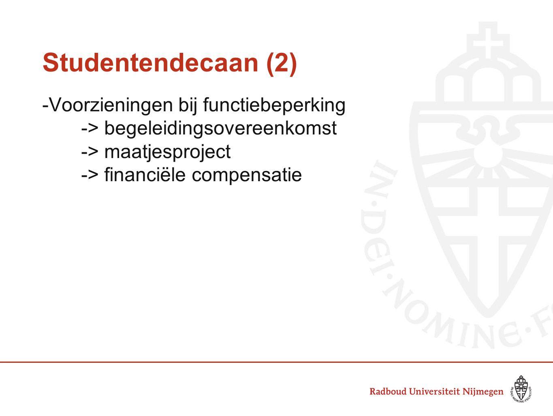 Studentendecaan (2) -Voorzieningen bij functiebeperking