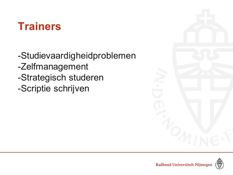 Trainers -Studievaardigheidproblemen -Zelfmanagement