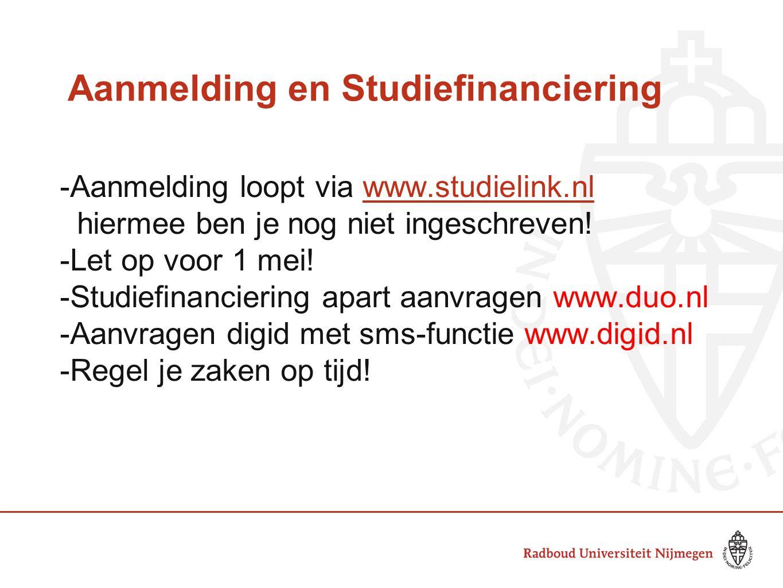 Aanmelding en Studiefinanciering