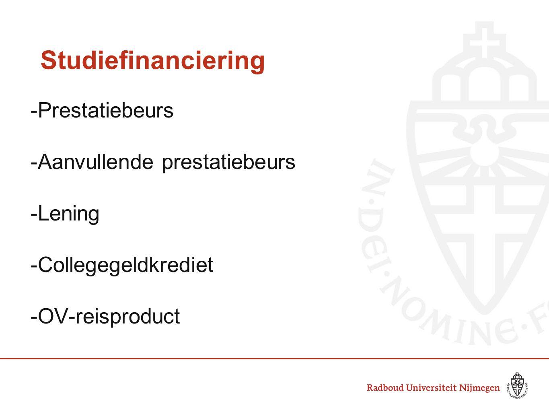 Studiefinanciering -Prestatiebeurs -Aanvullende prestatiebeurs -Lening