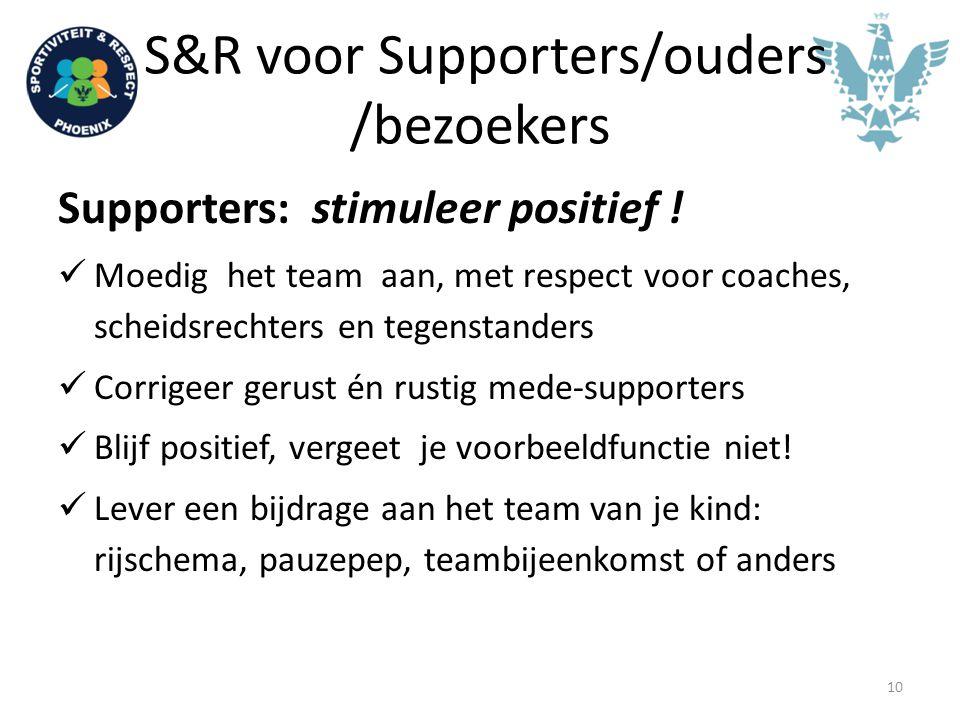 S&R voor Supporters/ouders /bezoekers