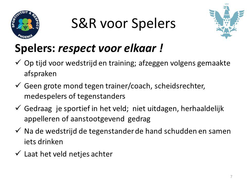 S&R voor Spelers Spelers: respect voor elkaar !
