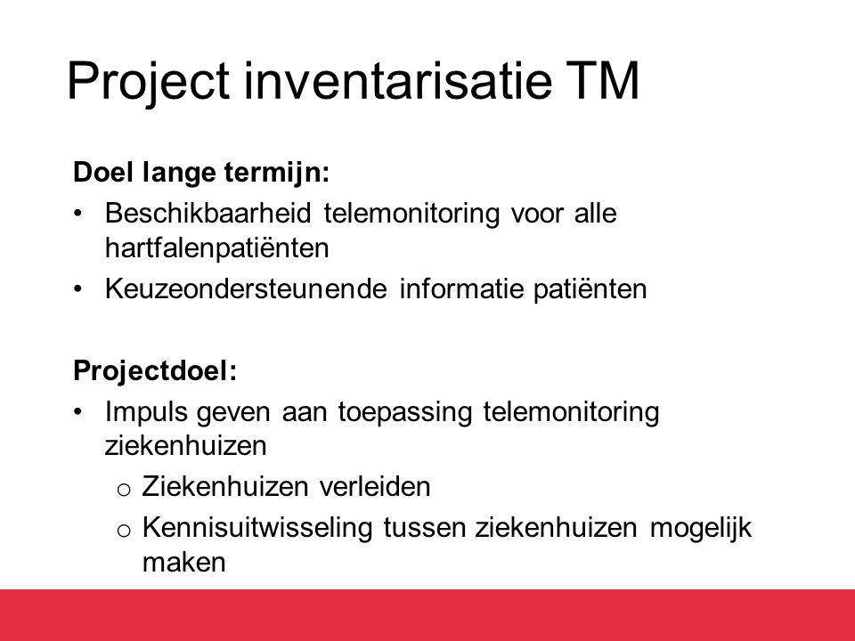 Project inventarisatie TM
