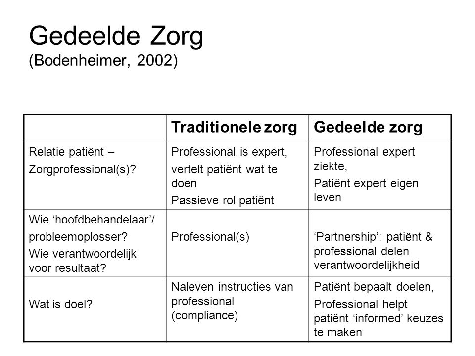 Gedeelde Zorg (Bodenheimer, 2002)