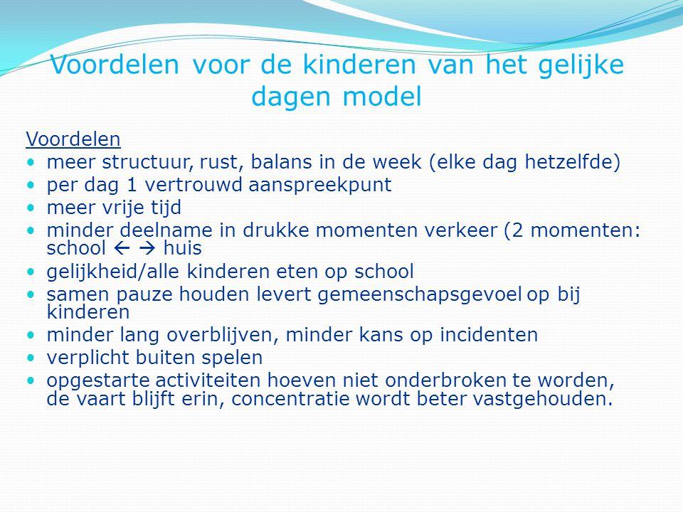Voordelen voor de kinderen van het gelijke dagen model