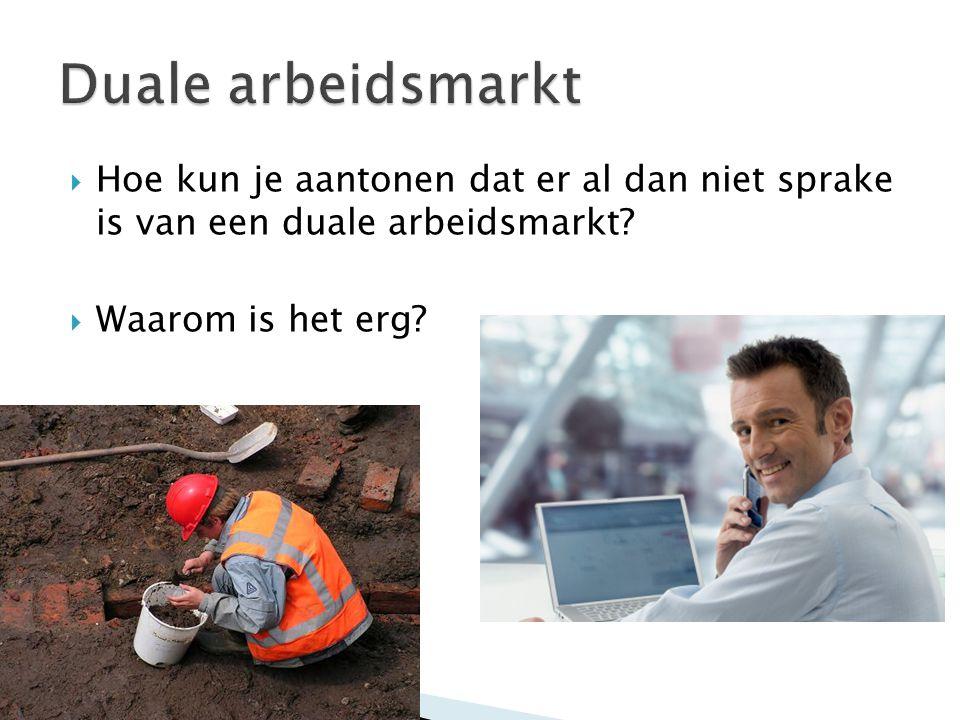 Duale arbeidsmarkt Hoe kun je aantonen dat er al dan niet sprake is van een duale arbeidsmarkt.
