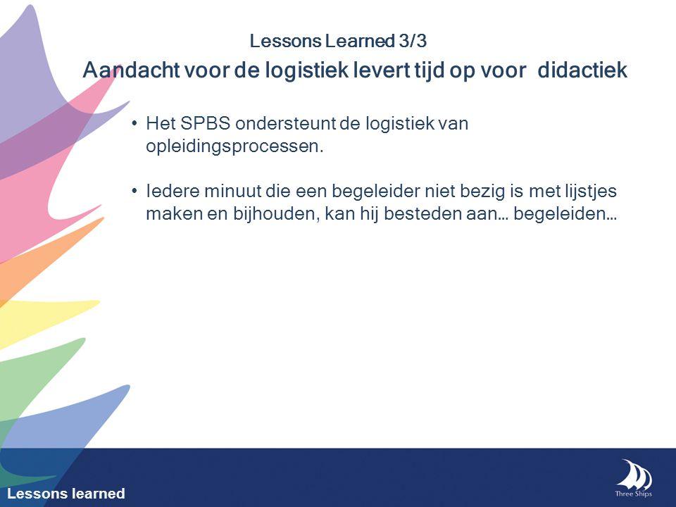 Het SPBS ondersteunt de logistiek van opleidingsprocessen.