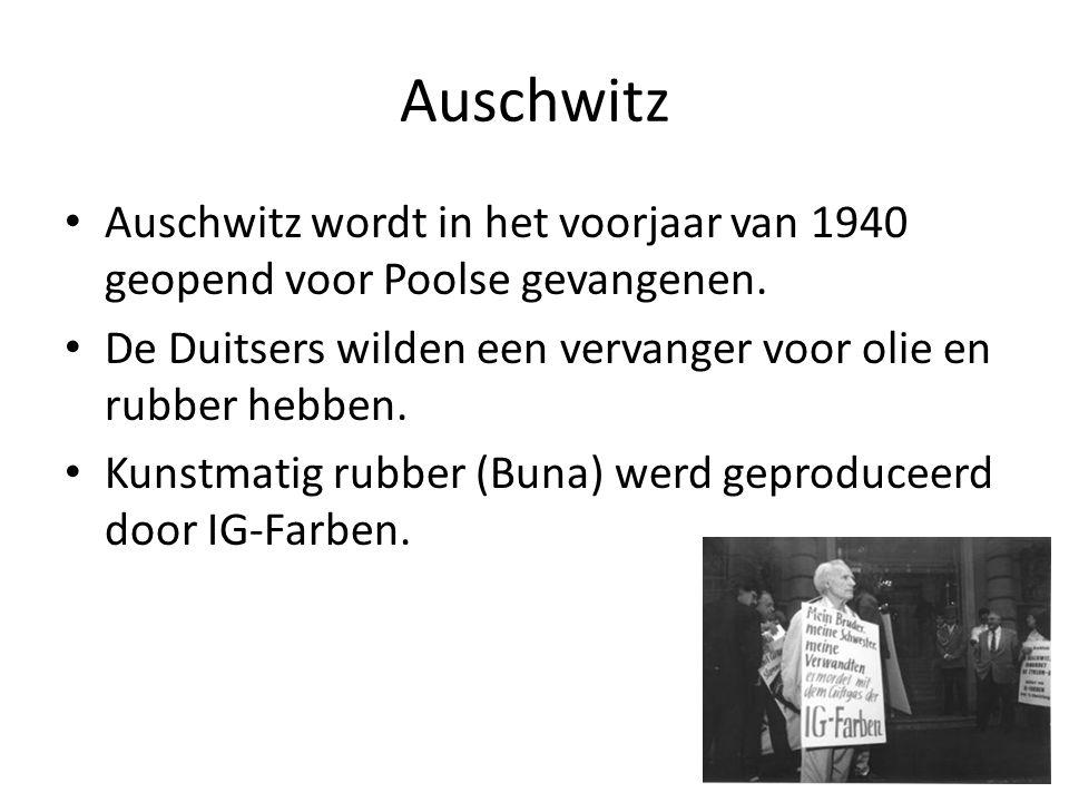 Auschwitz Auschwitz wordt in het voorjaar van 1940 geopend voor Poolse gevangenen. De Duitsers wilden een vervanger voor olie en rubber hebben.
