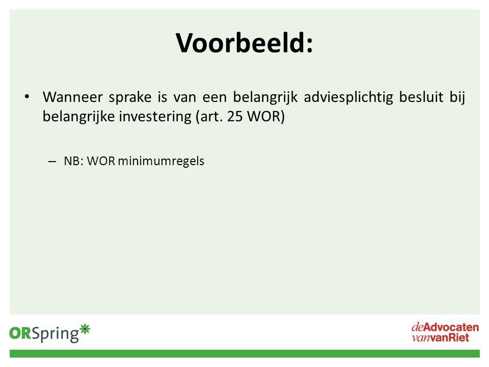 Voorbeeld: Wanneer sprake is van een belangrijk adviesplichtig besluit bij belangrijke investering (art. 25 WOR)