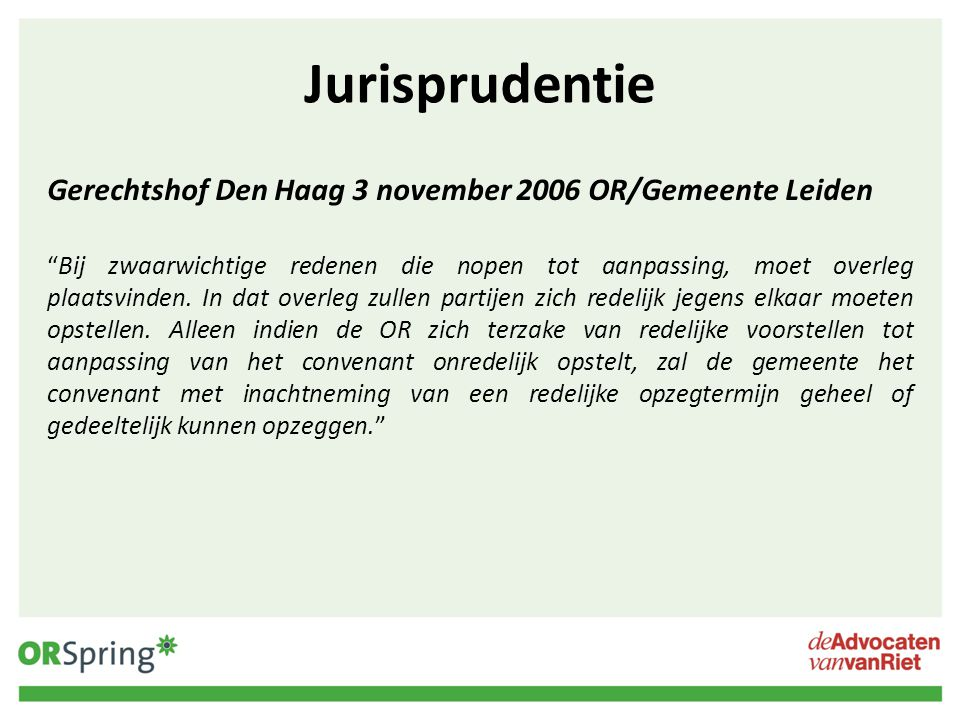 Jurisprudentie Gerechtshof Den Haag 3 november 2006 OR/Gemeente Leiden