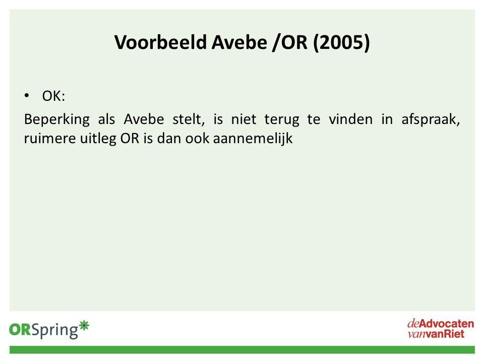 Voorbeeld Avebe /OR (2005) OK:
