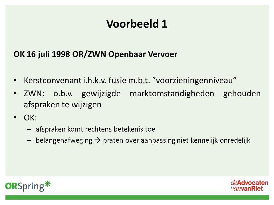 Voorbeeld 1 OK 16 juli 1998 OR/ZWN Openbaar Vervoer