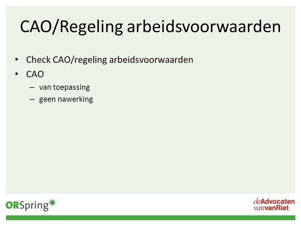 CAO/Regeling arbeidsvoorwaarden