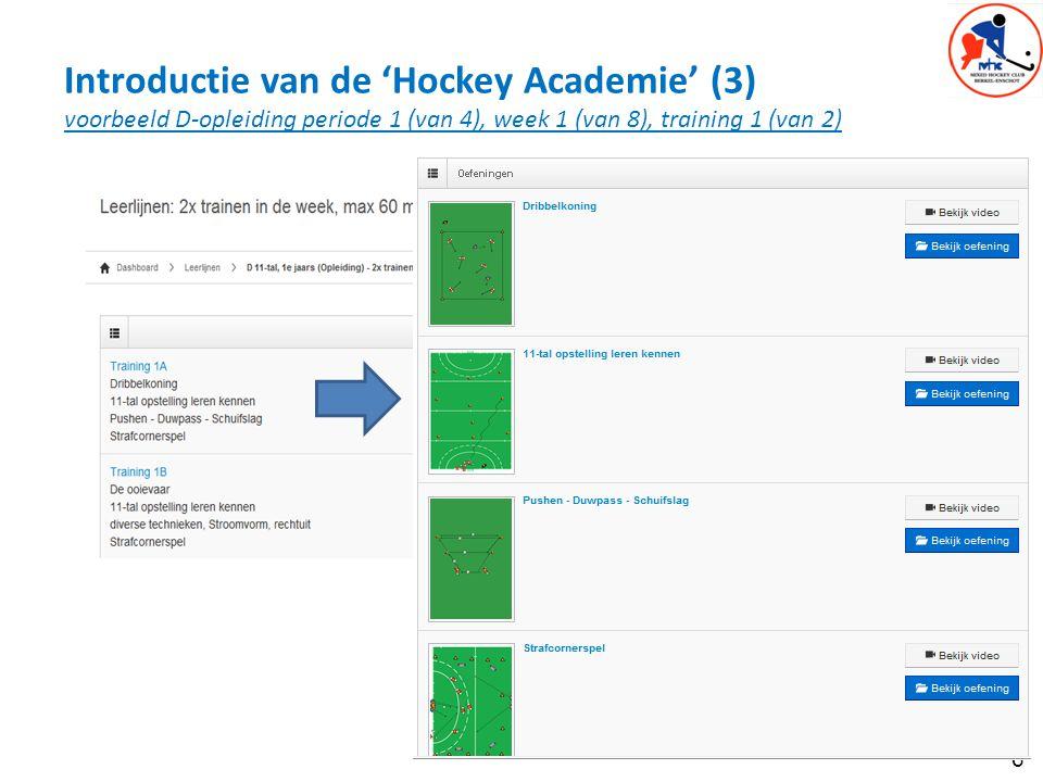 Introductie van de 'Hockey Academie' (3) voorbeeld D-opleiding periode 1 (van 4), week 1 (van 8), training 1 (van 2)