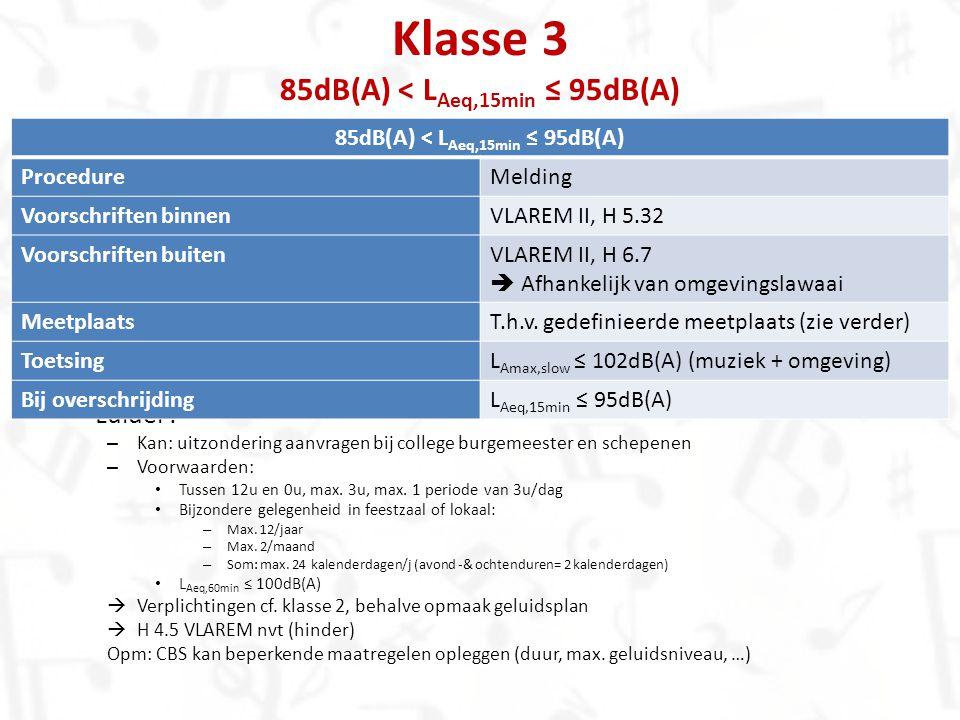 Klasse 3 85dB(A) < LAeq,15min ≤ 95dB(A)