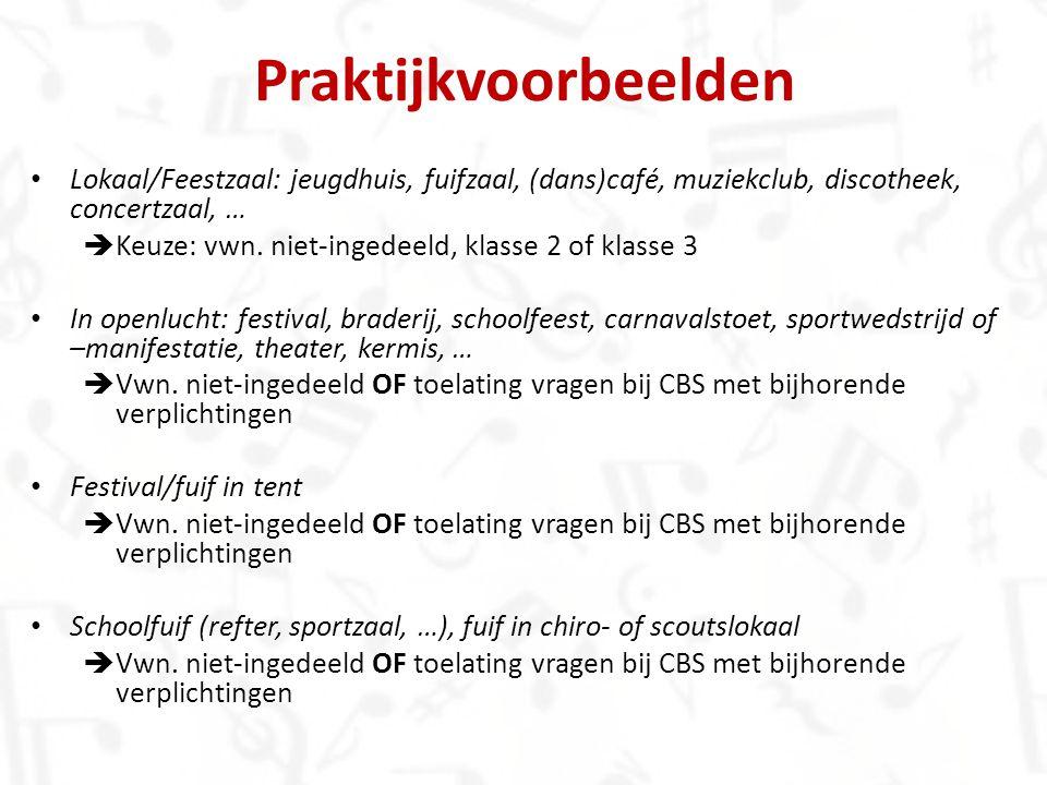 Praktijkvoorbeelden Lokaal/Feestzaal: jeugdhuis, fuifzaal, (dans)café, muziekclub, discotheek, concertzaal, …