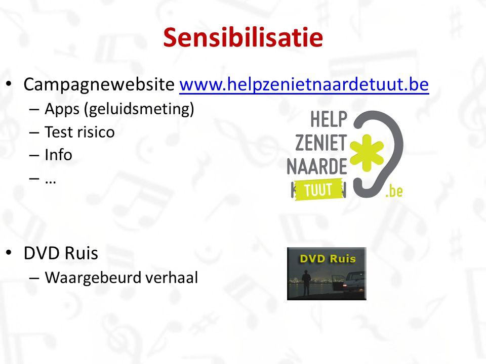 Sensibilisatie Campagnewebsite www.helpzenietnaardetuut.be DVD Ruis