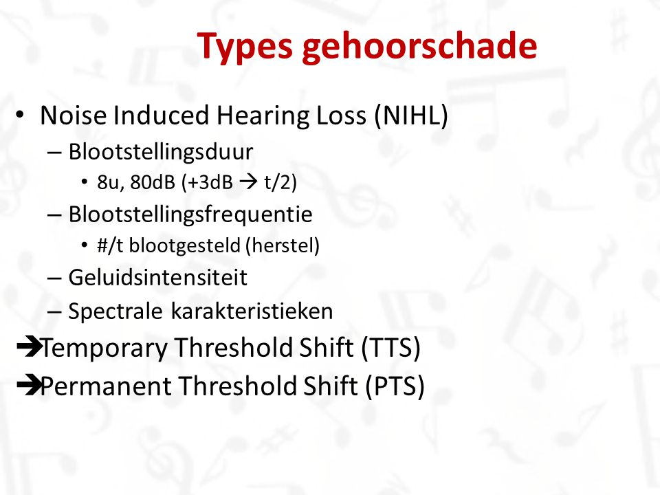 Types gehoorschade Noise Induced Hearing Loss (NIHL)