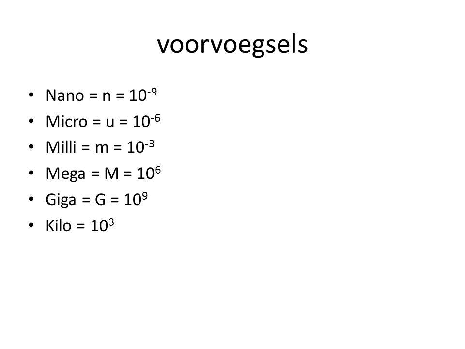 voorvoegsels Nano = n = 10-9 Micro = u = 10-6 Milli = m = 10-3