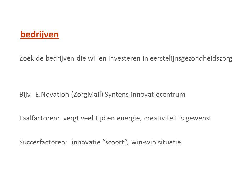 bedrijven Zoek de bedrijven die willen investeren in eerstelijnsgezondheidszorg. Bijv. E.Novation (ZorgMail) Syntens innovatiecentrum.