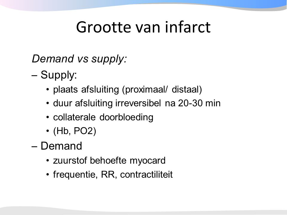 Grootte van infarct Demand vs supply: Supply: Demand