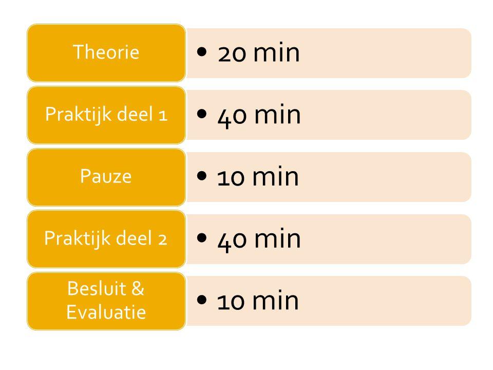 Theorie 20 min Praktijk deel 1 40 min Pauze 10 min Praktijk deel 2 Besluit & Evaluatie