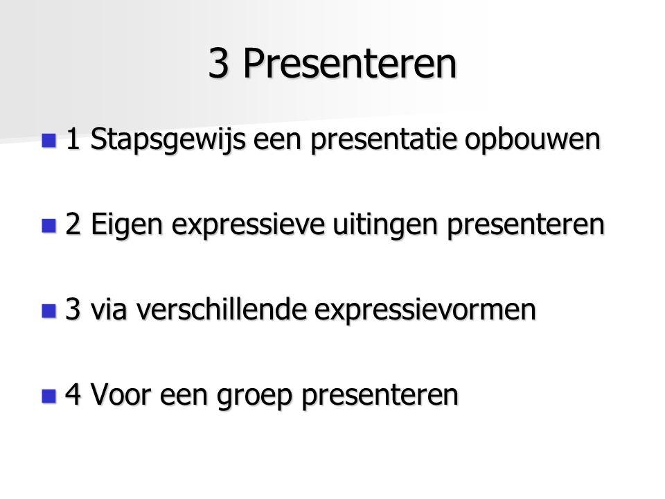 3 Presenteren 1 Stapsgewijs een presentatie opbouwen