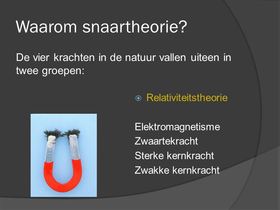 Waarom snaartheorie De vier krachten in de natuur vallen uiteen in twee groepen: Relativiteitstheorie.