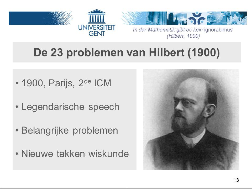 De 23 problemen van Hilbert (1900)