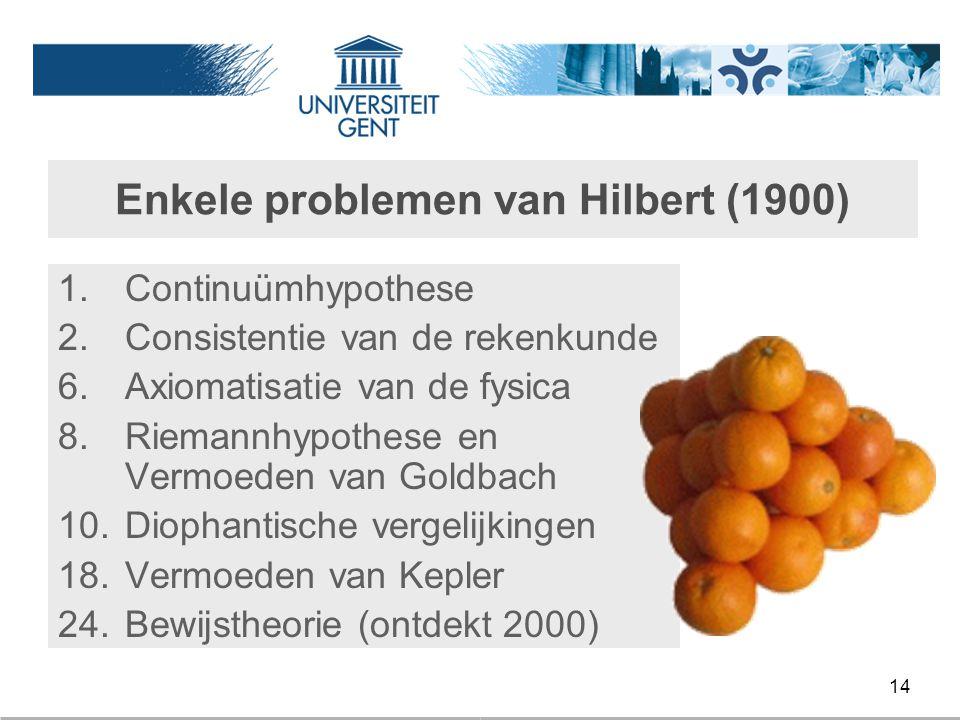 Enkele problemen van Hilbert (1900)