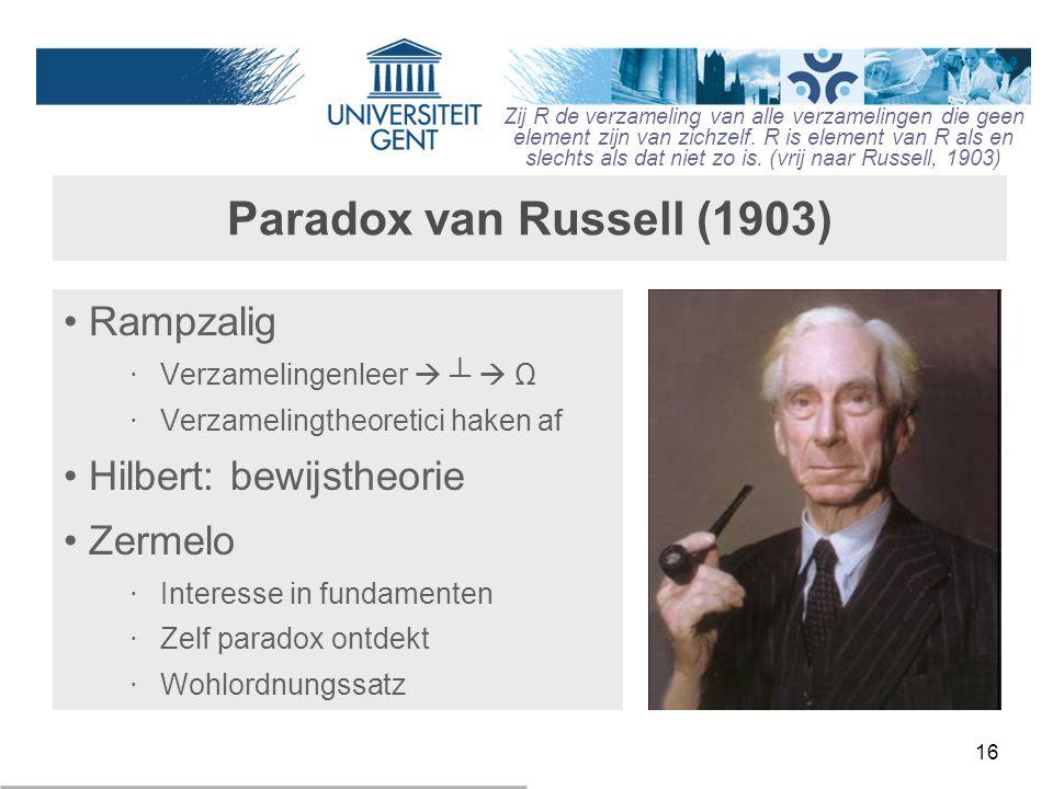 Paradox van Russell (1903) Rampzalig Hilbert: bewijstheorie Zermelo