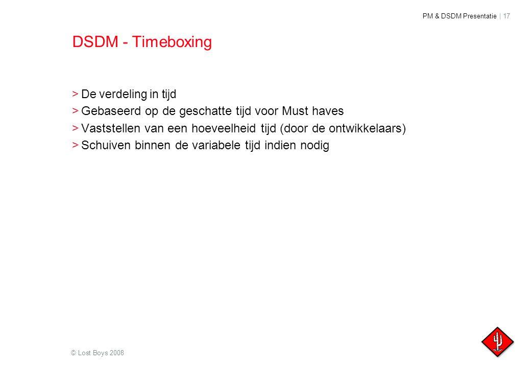 DSDM - Timeboxing Gebaseerd op de geschatte tijd voor Must haves