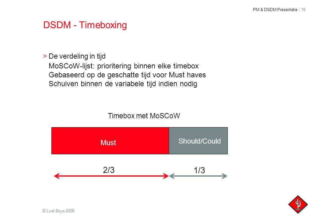 DSDM - Timeboxing De verdeling in tijd. MoSCoW-lijst: prioritering binnen elke timebox. Gebaseerd op de geschatte tijd voor Must haves.