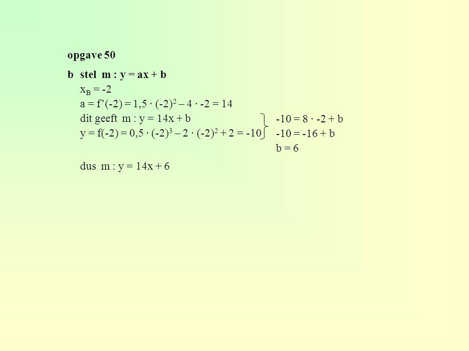opgave 50 b stel m : y = ax + b. xB = -2. a = f'(-2) = 1,5 · (-2)2 – 4 · -2 = 14. dit geeft m : y = 14x + b.