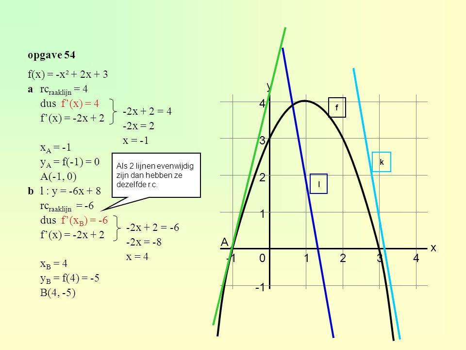 y 4 3 2 1 A x -1 1 2 3 4 -1 opgave 54 f(x) = -x² + 2x + 3