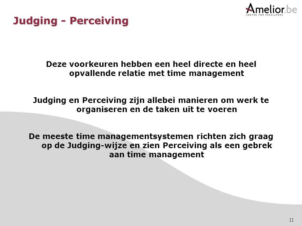 Judging - Perceiving Deze voorkeuren hebben een heel directe en heel opvallende relatie met time management.