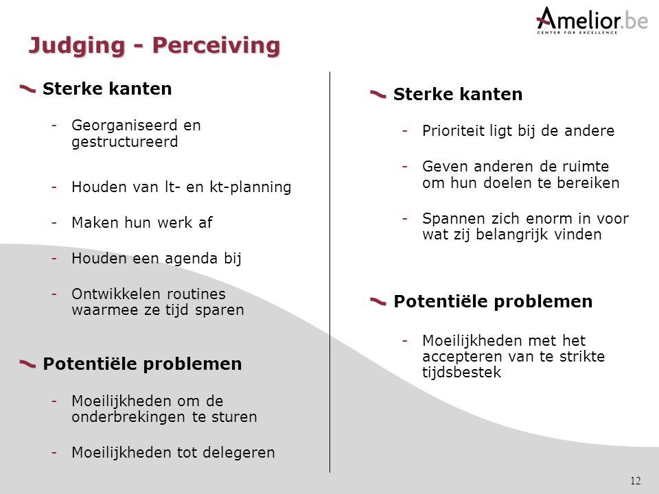 Judging - Perceiving Sterke kanten Sterke kanten Potentiële problemen