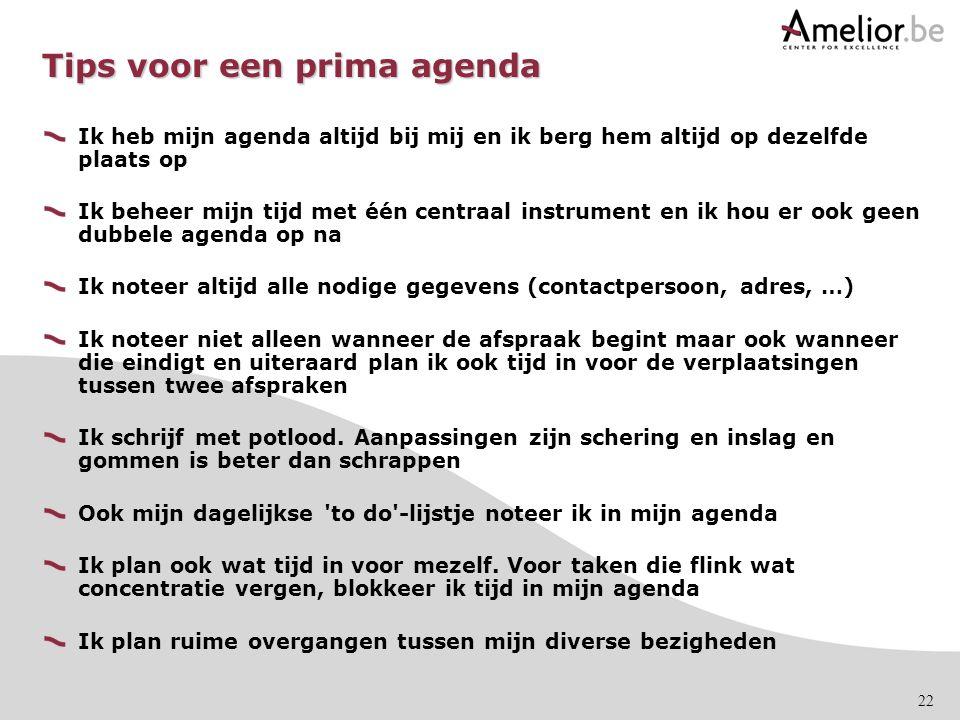 Tips voor een prima agenda
