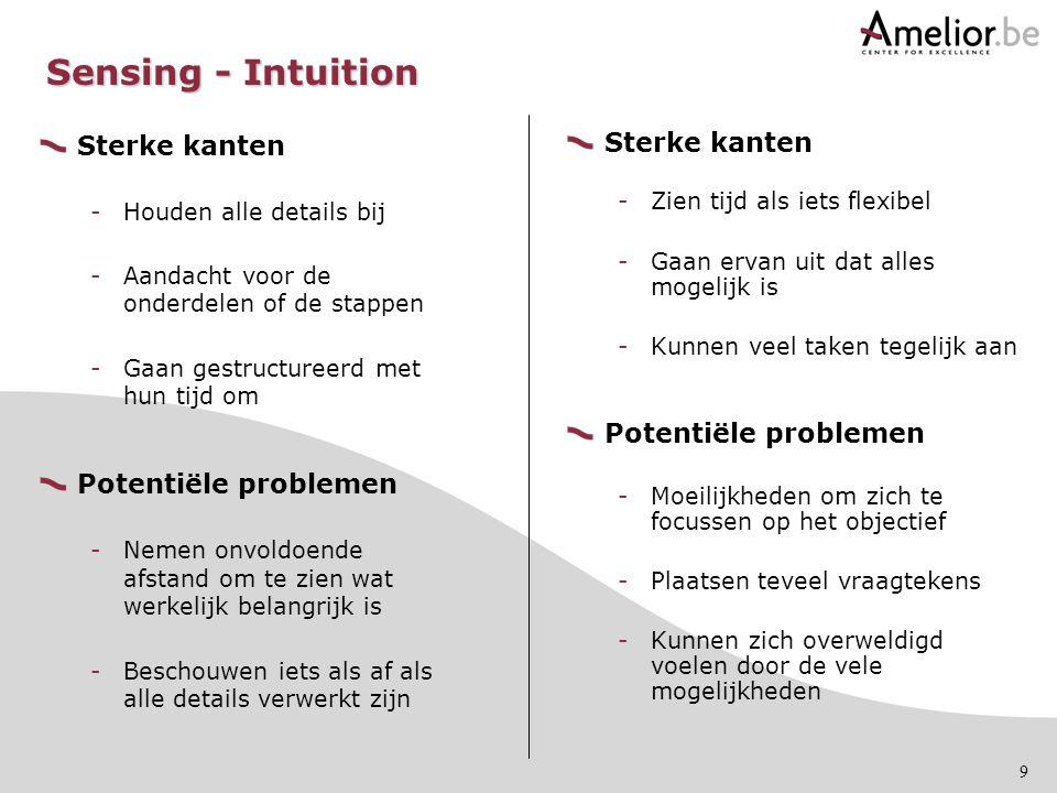 Sensing - Intuition Sterke kanten Potentiële problemen Sterke kanten