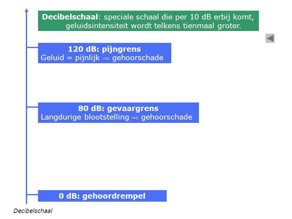 120 dB: pijngrens 80 dB: gevaargrens 0 dB: gehoordrempel