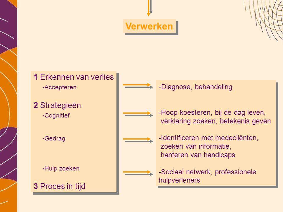 Verwerken 1 Erkennen van verlies -Accepteren 2 Strategieën -Cognitief -Gedrag. -Hulp zoeken 3 Proces in tijd.