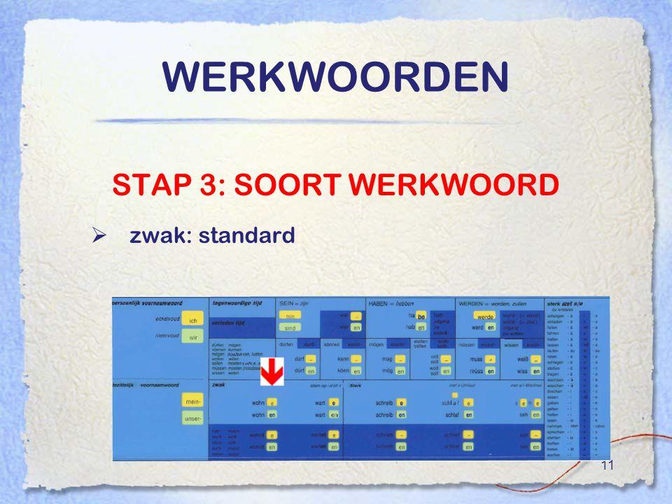 WERKWOORDEN STAP 3: SOORT WERKWOORD zwak: standard