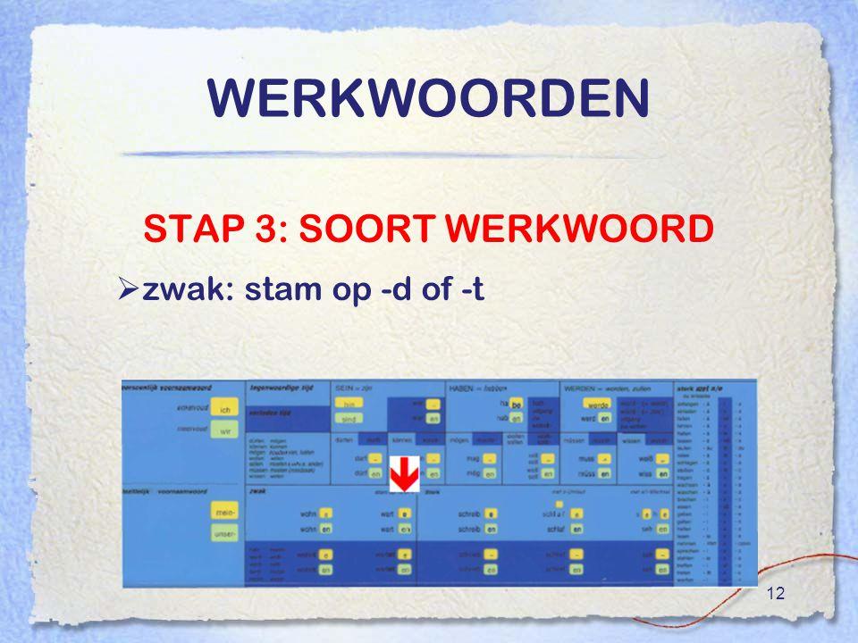 WERKWOORDEN STAP 3: SOORT WERKWOORD zwak: stam op -d of -t